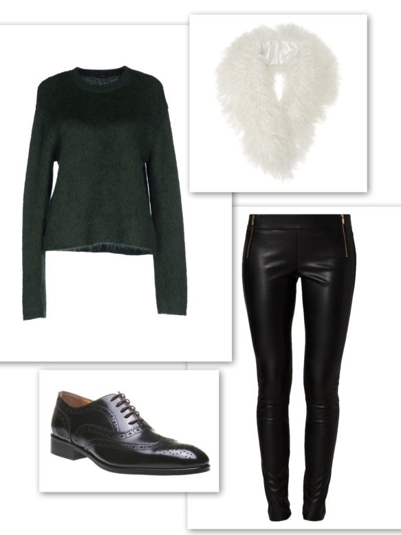 Dark green sweater + leather trousers + fur collar + brogues