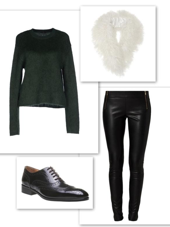 Dark green sweater + leather trousers + fur collar + brogues