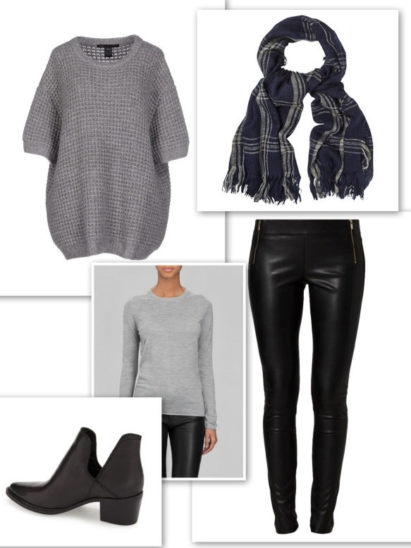 Grey sweaters + leather trousers + checked scarf + ankle boots