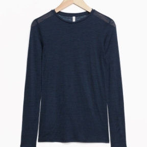 & Other Stories Long-Sleeved Wool Top navy (100% wool)