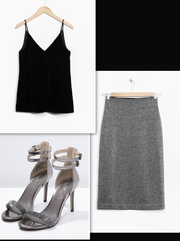 & Other Stories metallic skirt + black velvet top