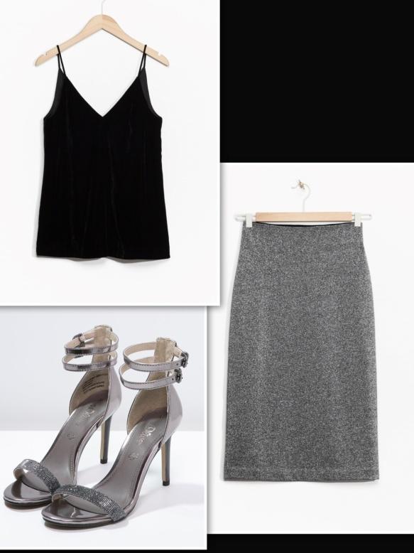 & Other Stories metallic skirt + black velvet top
