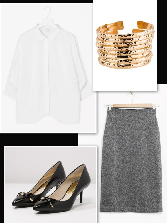 & Other Stories metallic skirt + white shirt