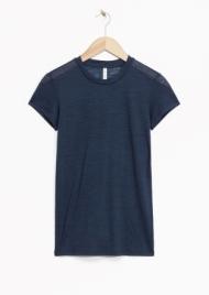 & Other Stories Sheer Wool T-Shirt blue (100% wool)