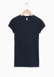 & Other Stories Sheer Wool T-Shirt dark navy (100% wool)
