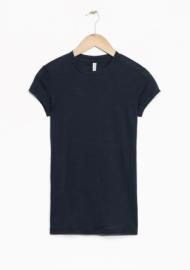 & Other Stories Sheer Wool T-Shirt dark navy (100% wool)
