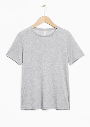 & Other Stories Straight Fit Lyocell T-Shirt light grey (100% Lyocell)