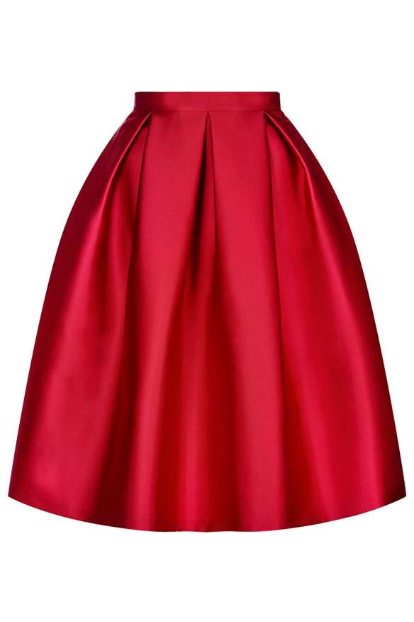TopShop Satin Prom Midi Skirt red