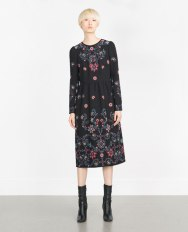Zara LONG EMBROIDERED DRESS