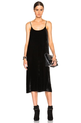 ATM ANTHONY THOMAS MELILLO CRUSHED VELVET SLIP DRESS