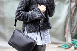 Bloglovin+Blog+Layered+Fall+Look+Charcoal+Grey+Sweater+Striped+Shirt+Black+Leather+Bag+Via+Fashion+And+Style