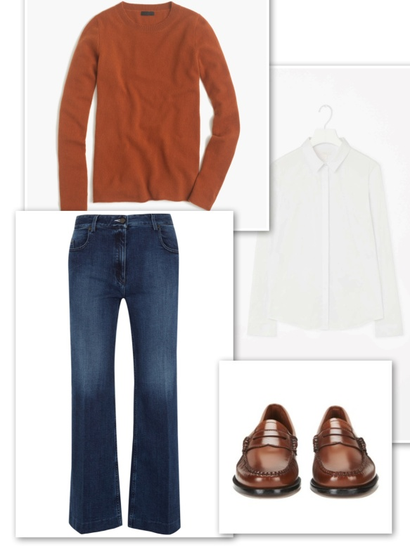 Cashmere sweater + white shirt + jeans + loafers