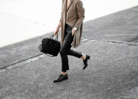 Cropped leather pants + pointed toe loafers by Modern-Legacy