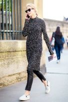 Le-Fashion-Blog-Mock-Neck-Sweater-Dress-Model-Off-Duty-Street-Style-Sasha-Luss-Sunglasses-Cropped-Black-Leather-Pants-Grey-Slip-On-Sneakers-Via-Vogue