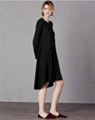 ME+EM ASYMMETRIC SWING DRESS black