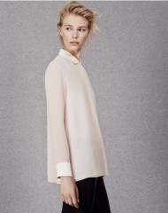 ME+EM DOUBLE LAYER SWING SILK BLOUSE blush/soft white