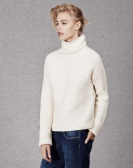 ME+EM RIBBED FUNNEL NECK JUMPER winter white