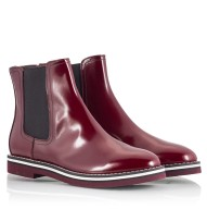 ATTILIO GIUSTI LEOMBRUNI Burgundy red polished leather Chelsea boots