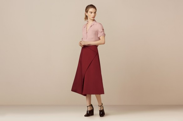 Finery Belshaw Fold A Line Skirt in burgundy