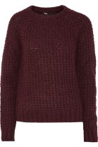 MAJE Karoline ribbed-knit sweater in burgundy