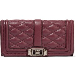 REBECCA MINKOFF Mini Love quilted leather clutch in burgundy