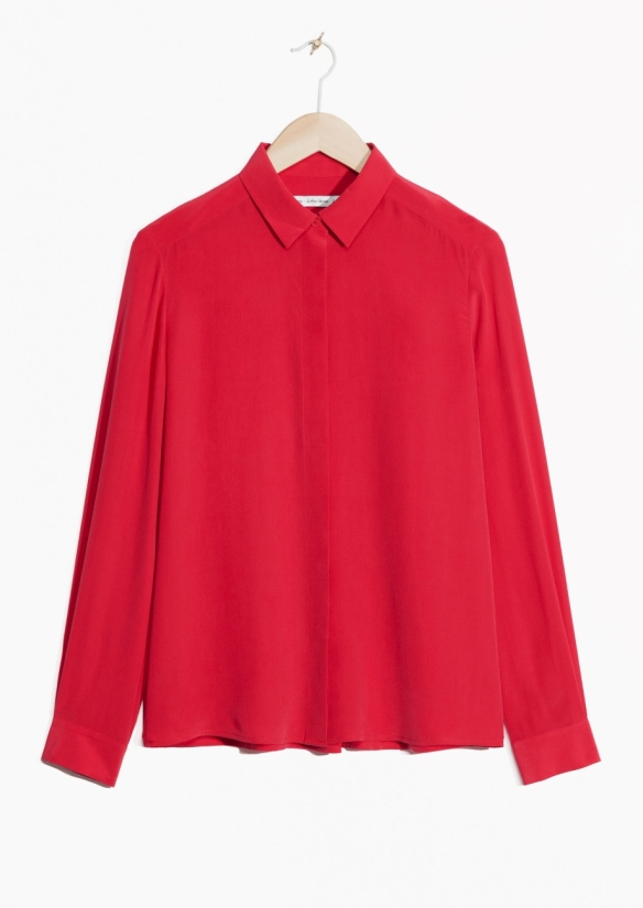 & Other Stories Silk Shirt red