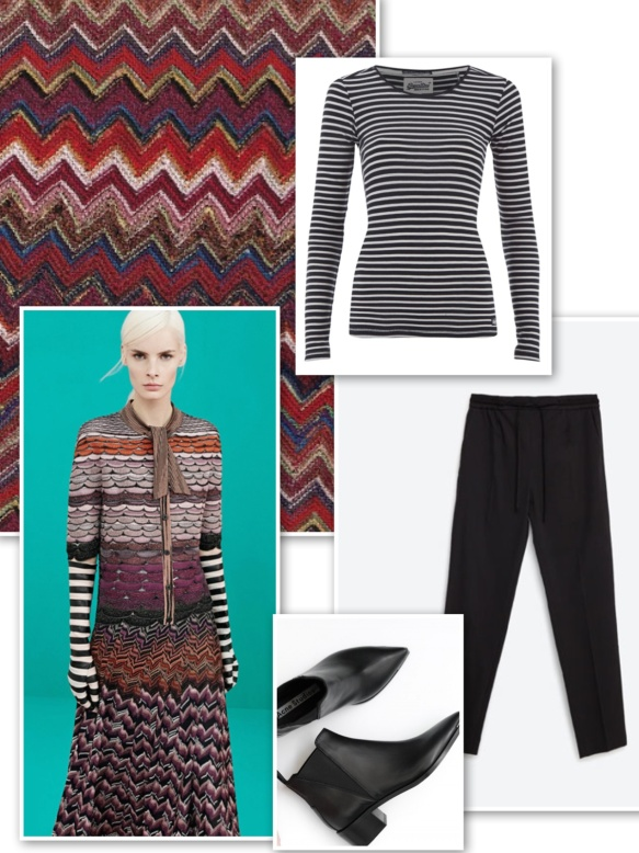 Stiped top + %22Missoni design%22 coat + black trousers + boots