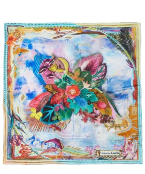 CHRISTIAN LACROIX LIGHT BLUE LUCKY ISLAND FOULARD