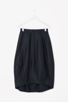 COS SILK AND COTTON SKIRT navy
