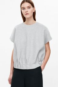 COS TOP WITH PLEATED HEMLINE light grey