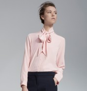 ME+EM pussybow silk blouse pink