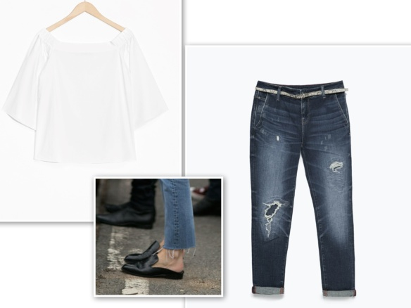 Off-the-shoulder blouse + jeans + flat mules