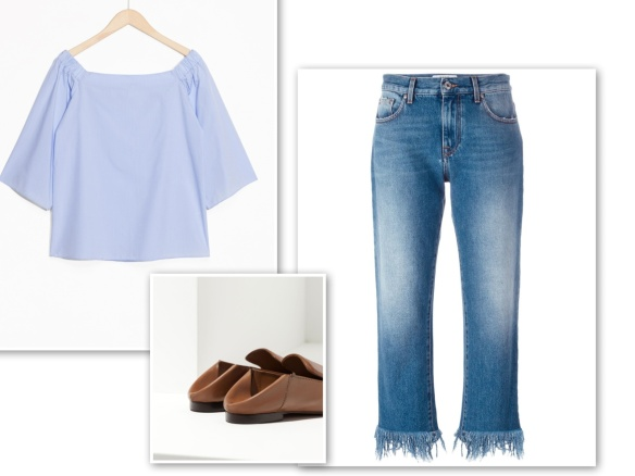 Off-the-shoulder blouse + jeans freyed hem + flat mules