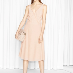 &Other Stories Mesh Finish Dress beige
