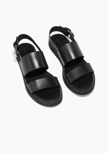 & Other Stories Raw Edge Leather Sandals black