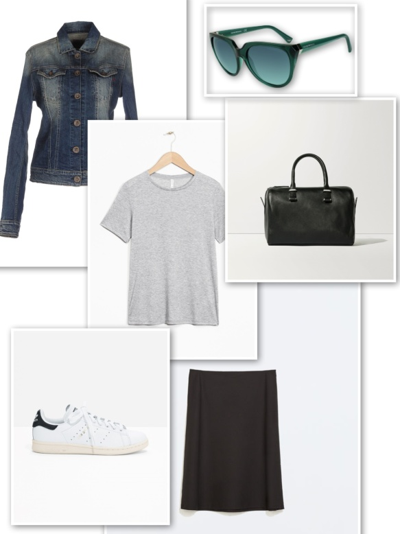 Denim jacket + grey t-shirt + black skirt + green sunglasses + black handbag + trainers