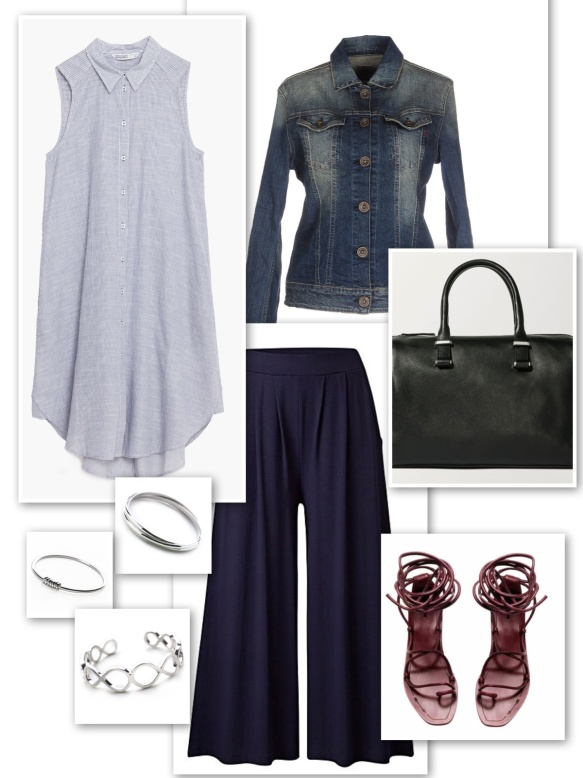 Denim jacket + long striped shirt + culottes + silver bangles + bowling bag + lace-up sandals