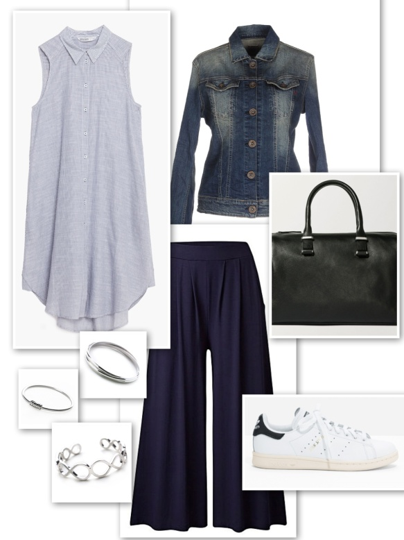Denim jacket + long striped shirt + culottes + silver bangles + bowling bag + Stan Smith's
