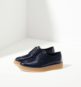 Massimo Dutti Blue antik leather platform bluchers
