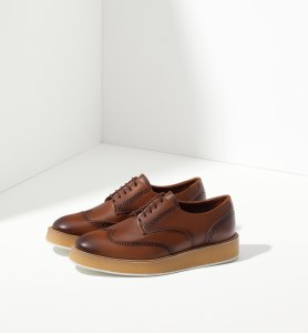 Massimo Dutti leather platform bluchers in tan