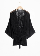 &Other Stories Belted Pointelle Kimono black