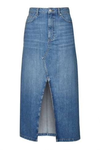 TOPSHOP MOTO Maxi Split Front Skirt in mid-stone