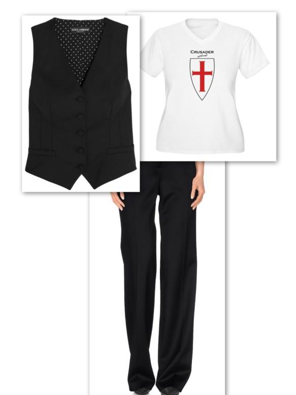 Black waistcoat + black trousers + doc t-shirt