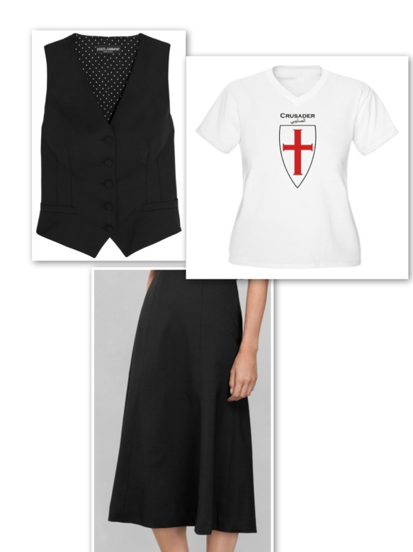 Black waistcoat + cross t-shirt + flute skirt
