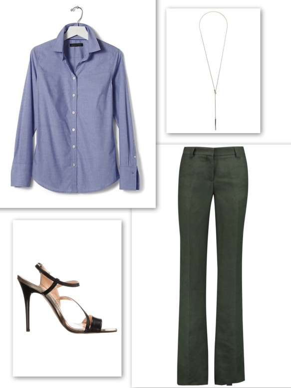 Blue fitted shirt + army green elegant trousers + long necklace + heels