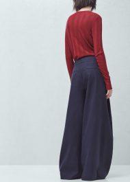 Mango PREMIUM - Flared cotton linen-blend trousers navy