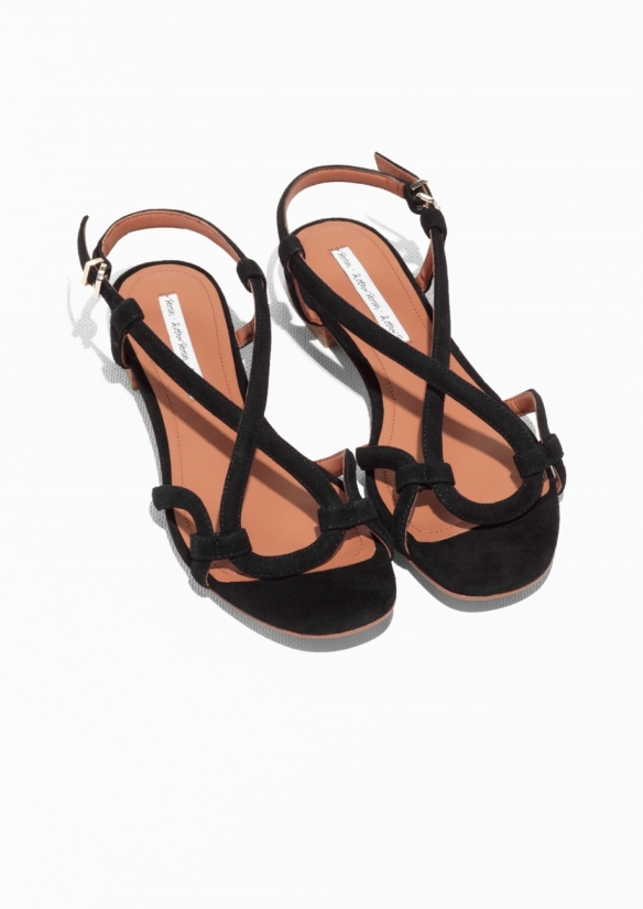 & Other Stories Looped Suede Sandals black