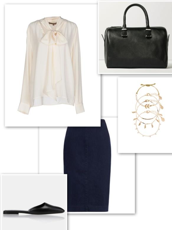 Pussy bow blouse + denim pencil skirt + bracelets + bowling bag + mules