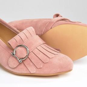 ASOS Park Lane Suede Fringe Mid Heel Loafer pink