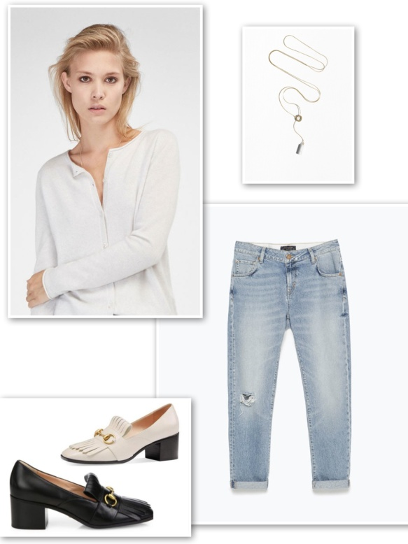 Cashmere cardigan + jeans light blue + thin necklace + mid-heel loafers